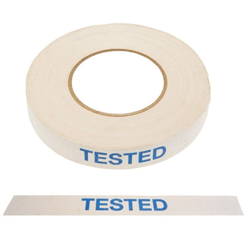 "Tape ""Tested"", 24mm x 50m Hvid med blå skrift"
